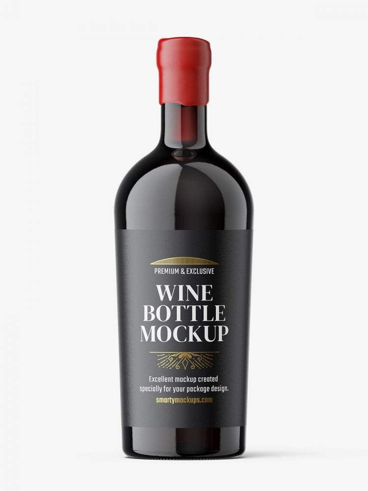 Red wine bottle with wax seal mockup