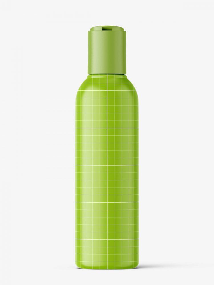 Bottle with disctop mockup / liquid