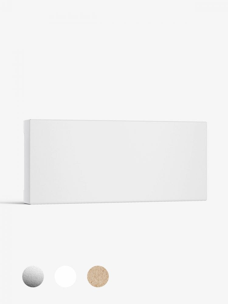 Box mockup / 115x50x15 mm / white - metallic - kraft