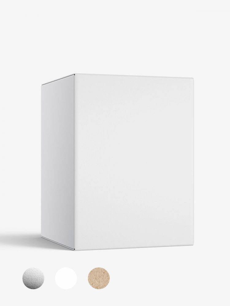 Box mockup / 45x60x45 mm / white - metallic - kraft