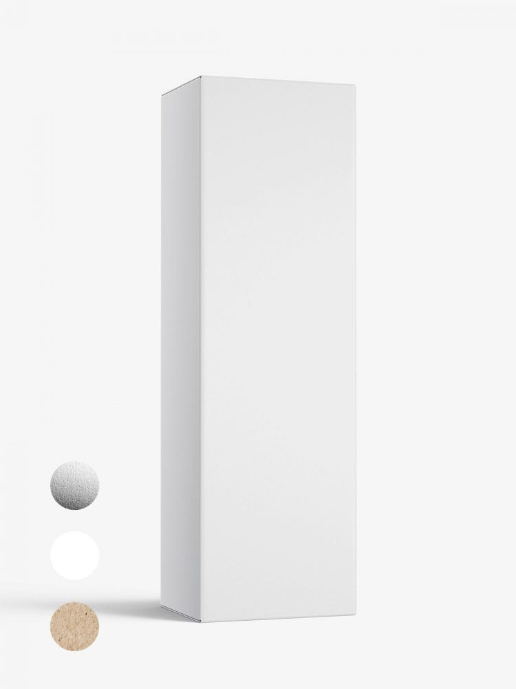 Box mockup / 55x150x40 mm / white - metallic - kraft