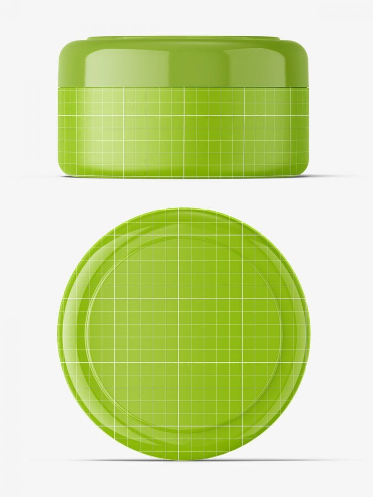 Cosmetic jar mockup / top and front view