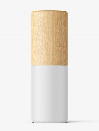 Matt cosmetic bottle with wooden cap