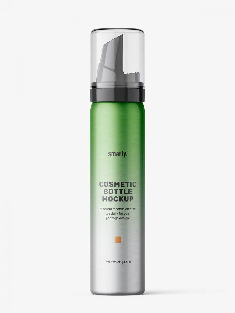 Cosmetic foam bottle mockup / metallic