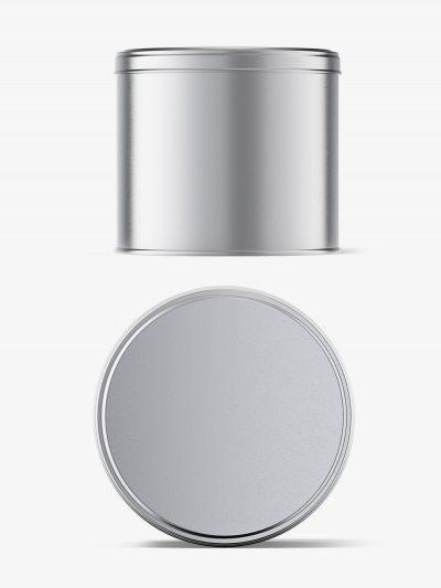 Metallic tin jar mockup / top and front view