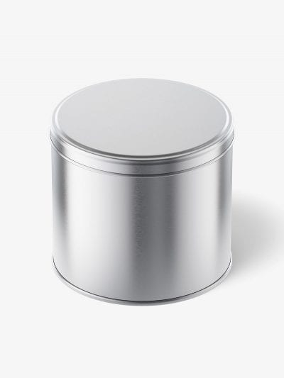 Metallic tin jar mockup