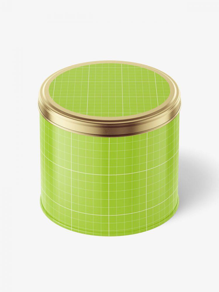 Metallic tin jar mockup