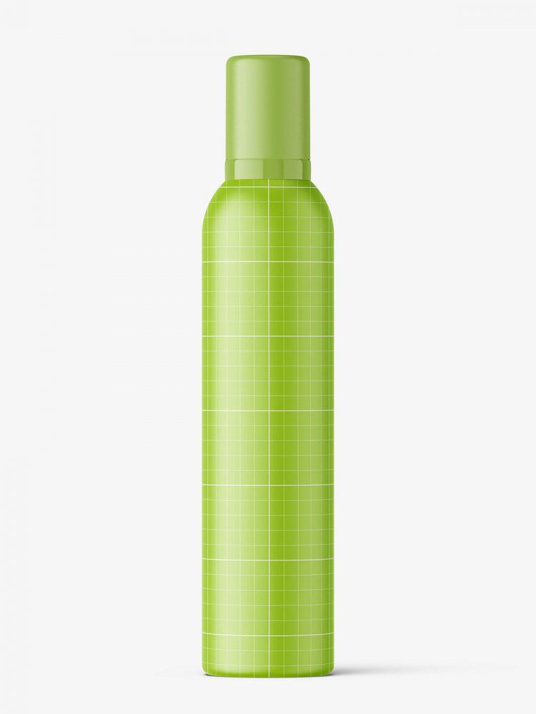 Cosmetic mousse bottle mockup / 300ml / metallic