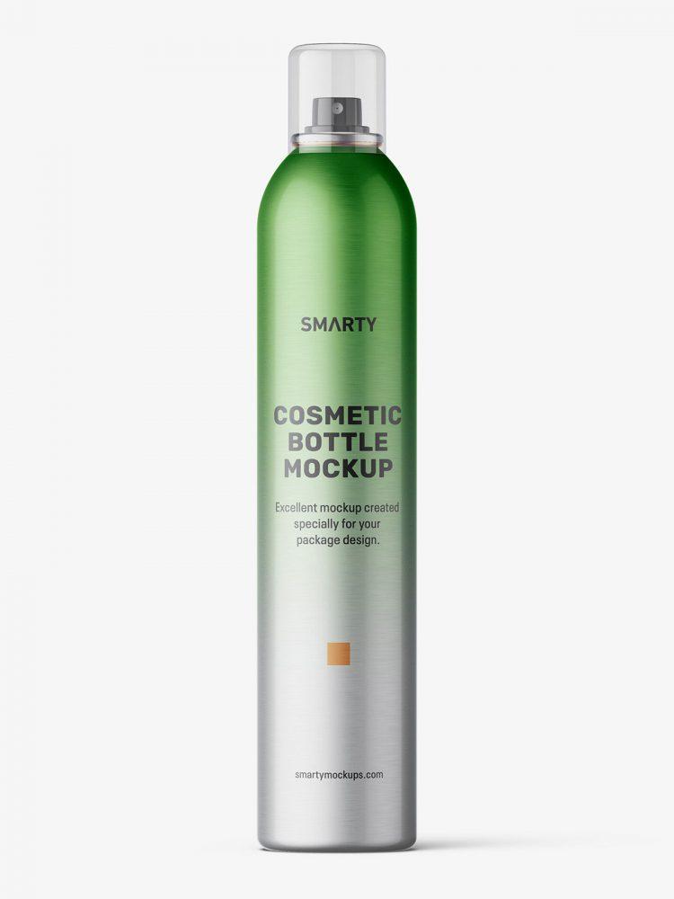 Cosmetic spray bottle mockup / 500ml / metallic