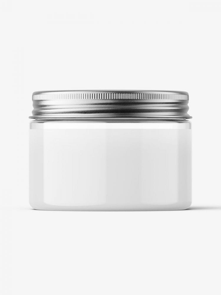 Transparent jar with metallic cap mockup / 150ml