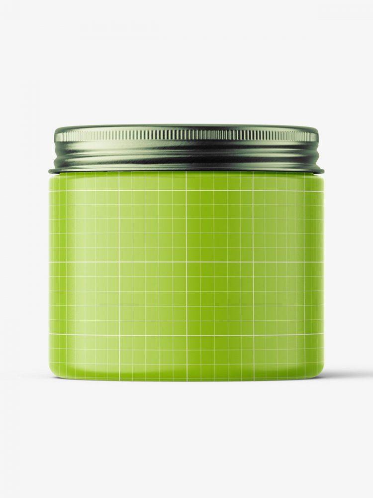 Transparent jar with metallic cap mockup / 200ml