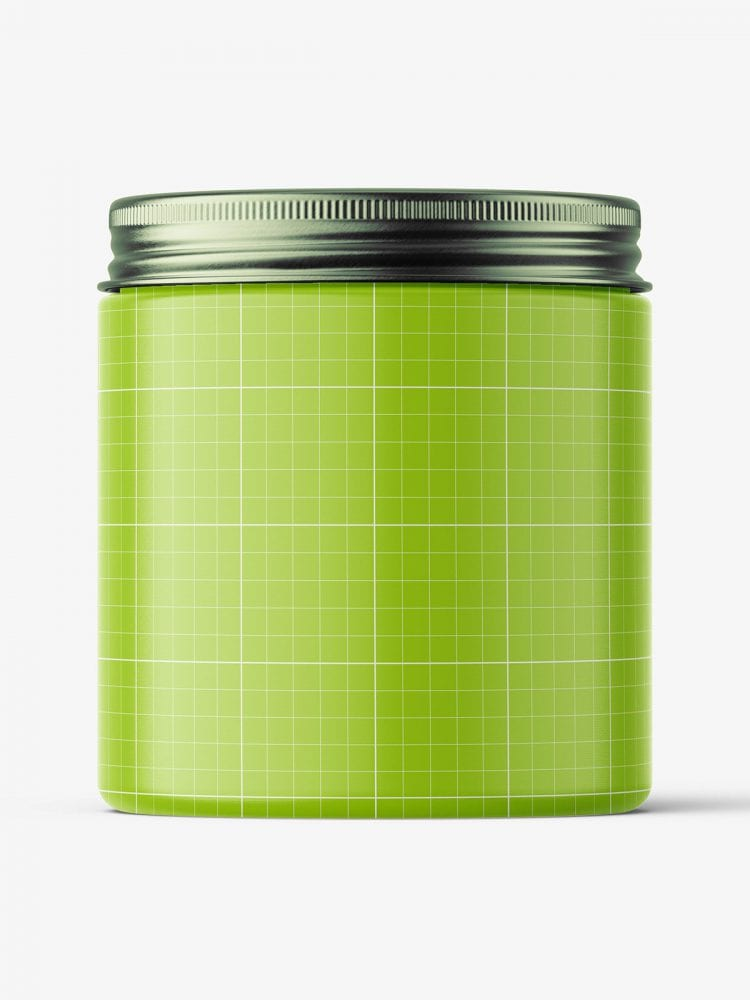 Transparent jar with metallic cap mockup / 250ml