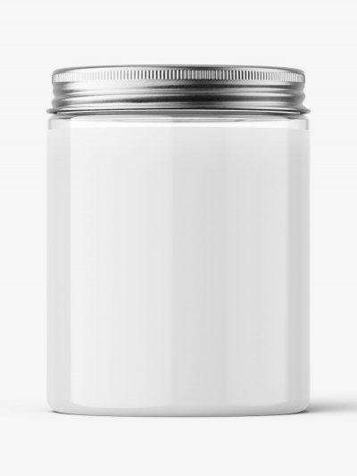 Transparent jar with metallic cap mockup / 300ml
