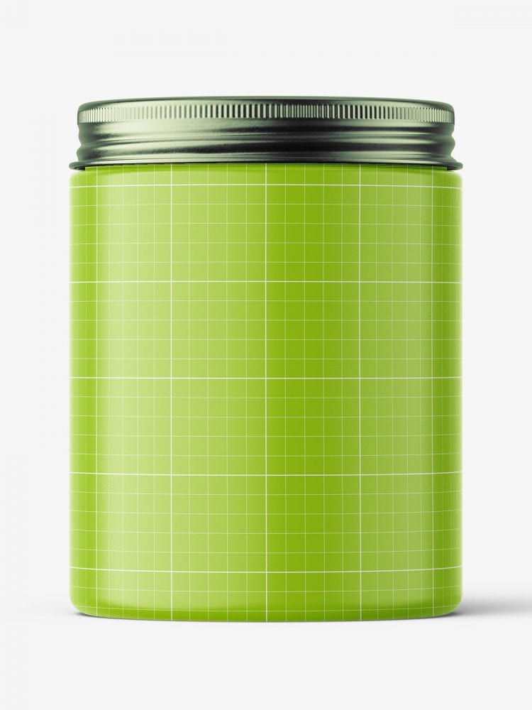 Transparent jar with metallic cap mockup / 300ml