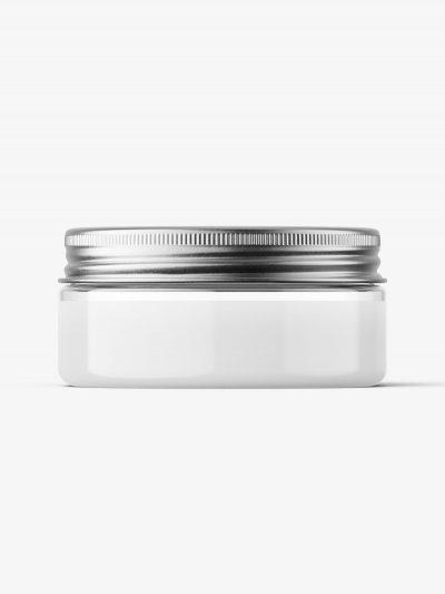 Transparent jar with metallic cap mockup / 75ml