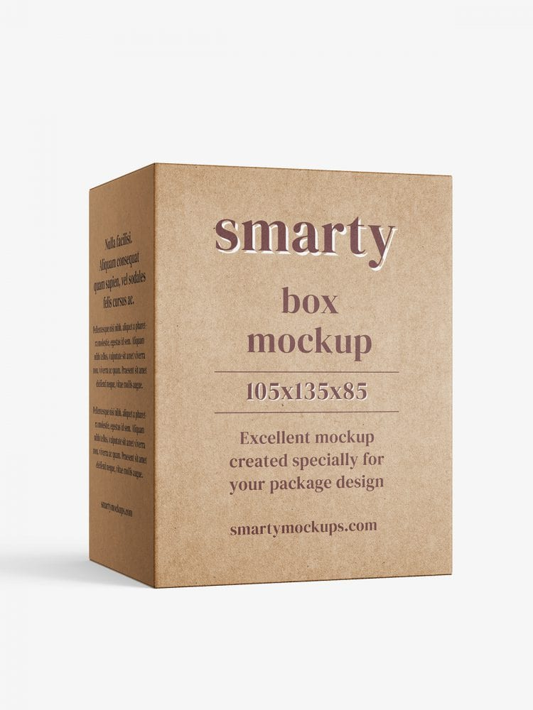 Box mockup / 105x135x85 mm / white - metallic - kraft