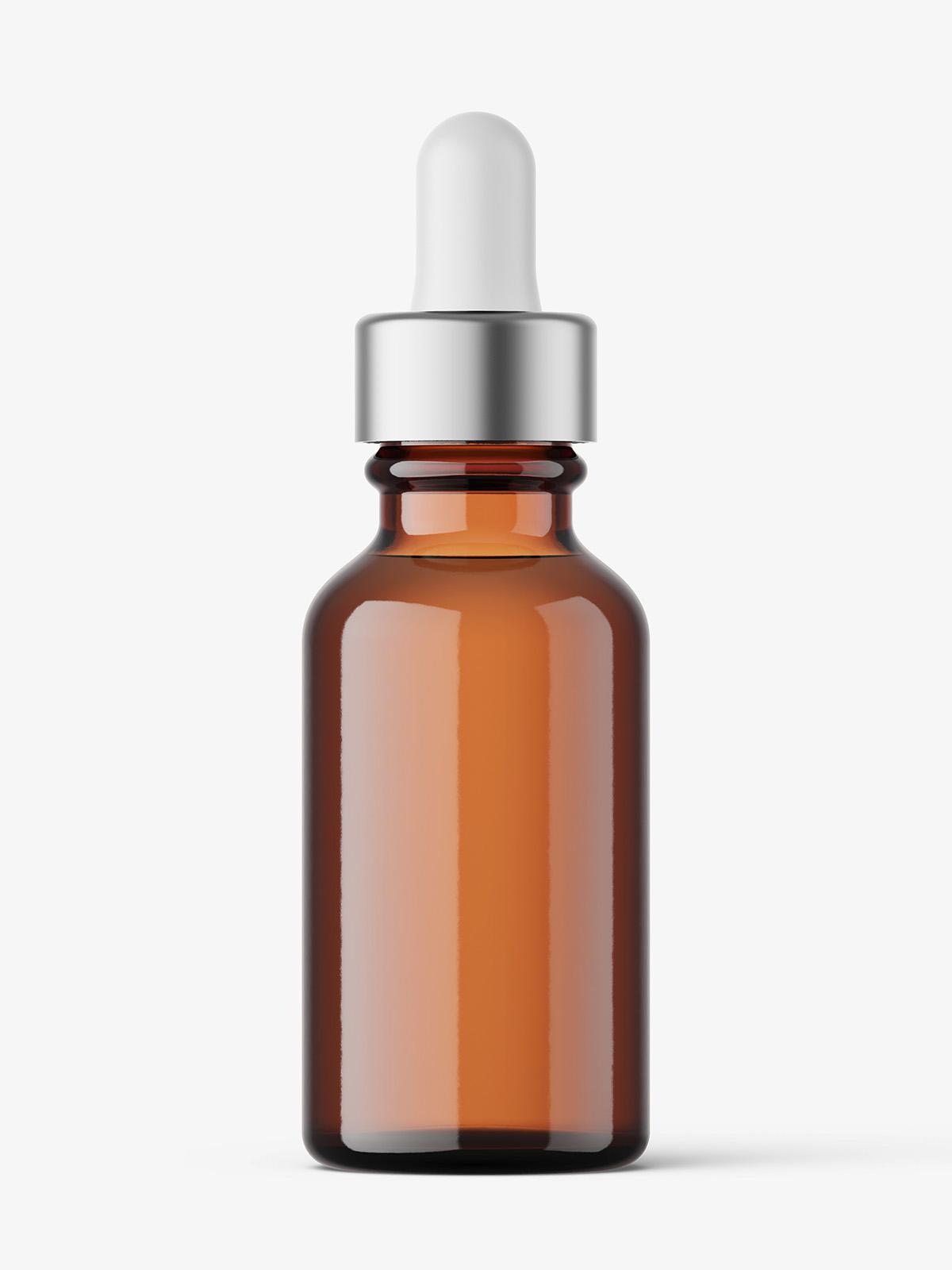 Glass dropper bottle mockup / amber - Smarty Mockups
