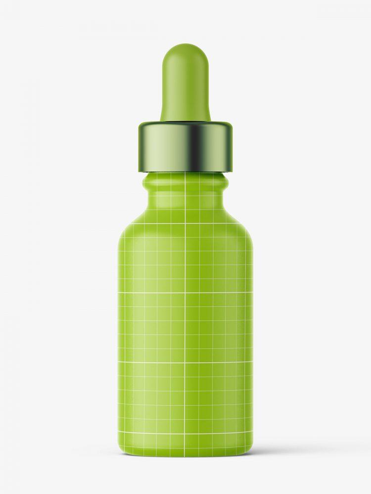 Glass dropper bottle mockup / amber