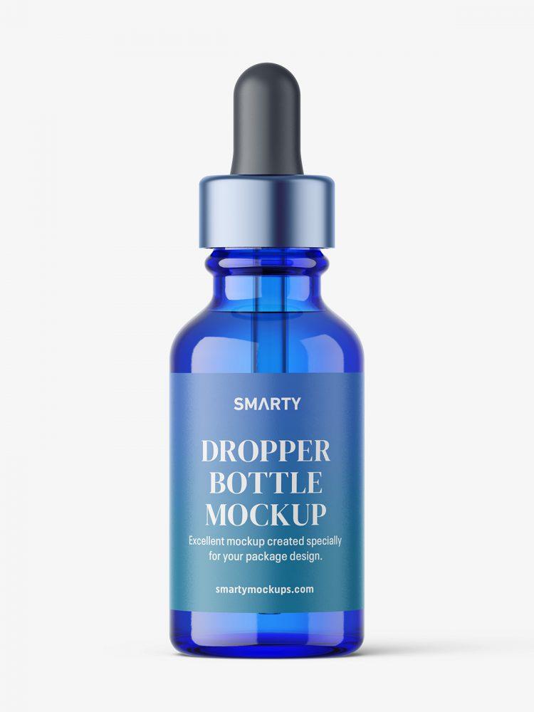 Glass dropper bottle mockup / blue