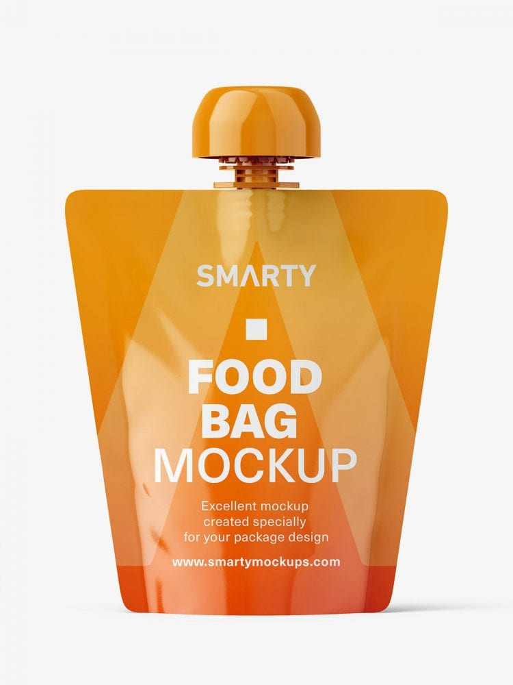 Glossy food pouch mockup