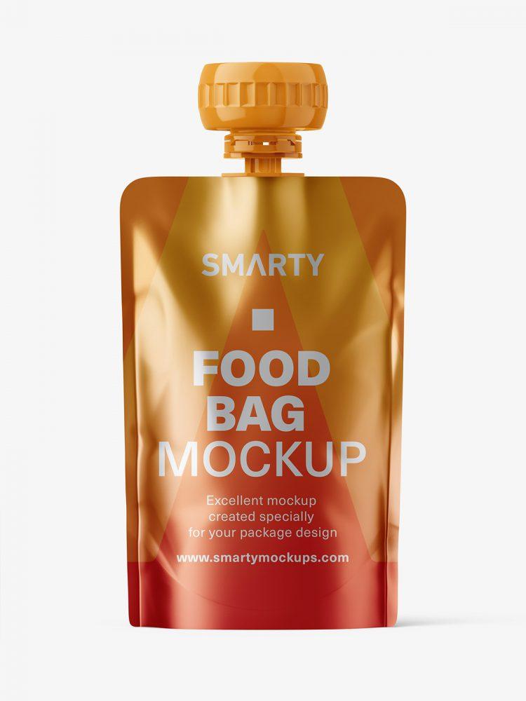 Metallic food pouch mockup