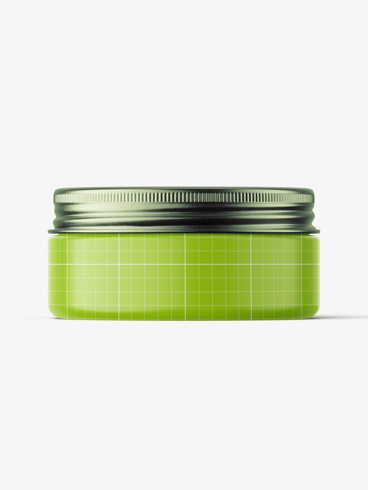 Gel jar with metallic cap mockup / 75ml