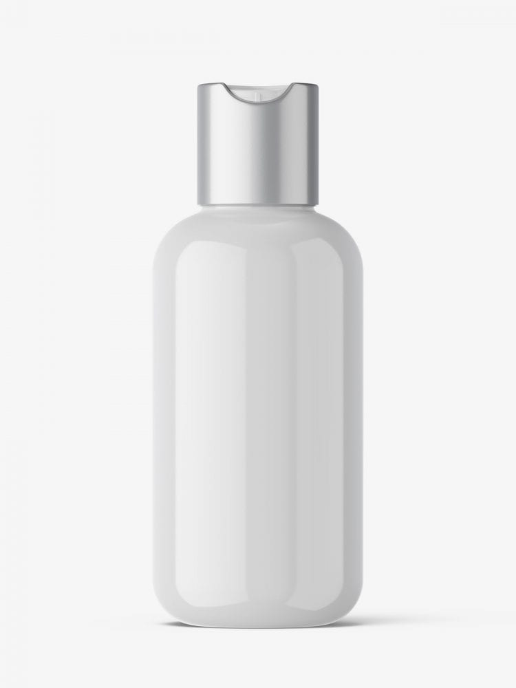 Bottle with disctop mockup / glossy