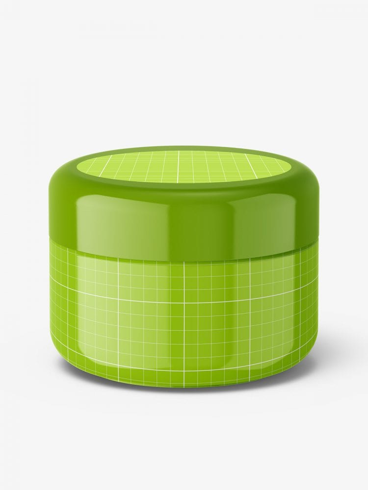 Cosmetic plastic cream jar mockup / glossy