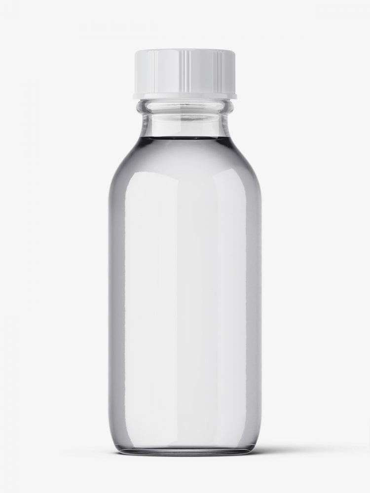 Transparent winchester bottle mockup / 30ml