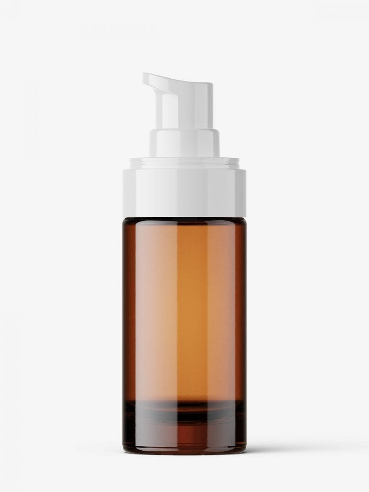 Amber airless bottle mockup