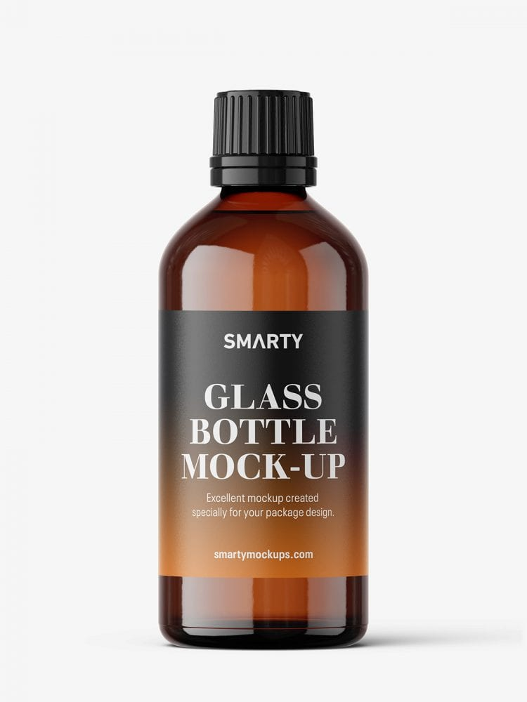 Amber bottle mockup / 100 ml
