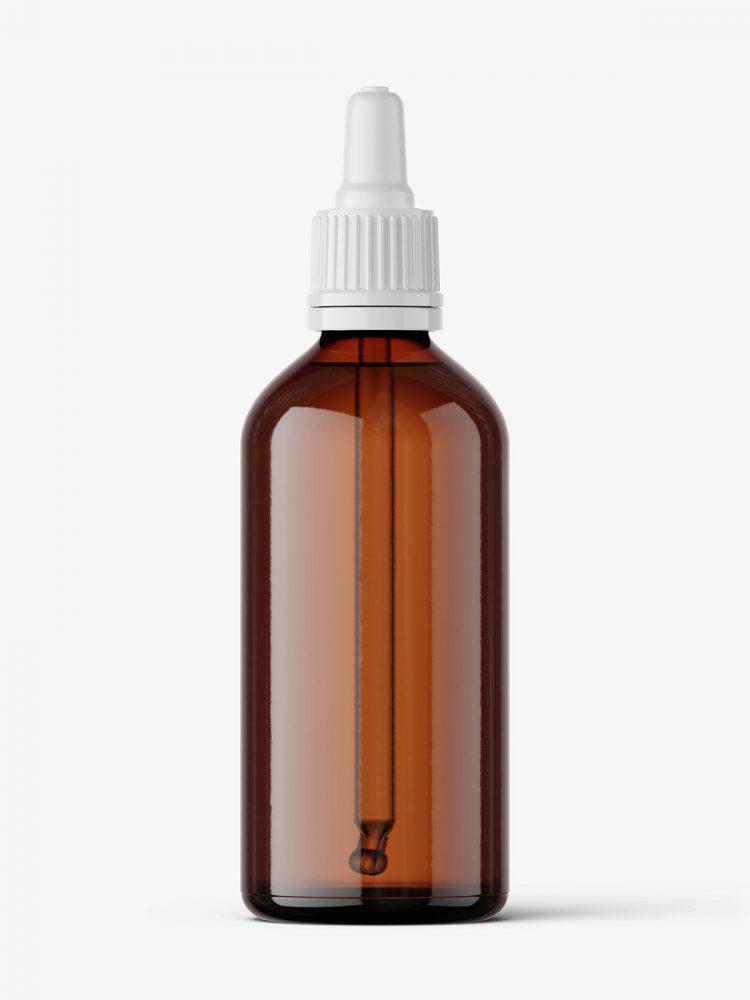 Amber dropper bottle mockup / 100 ml