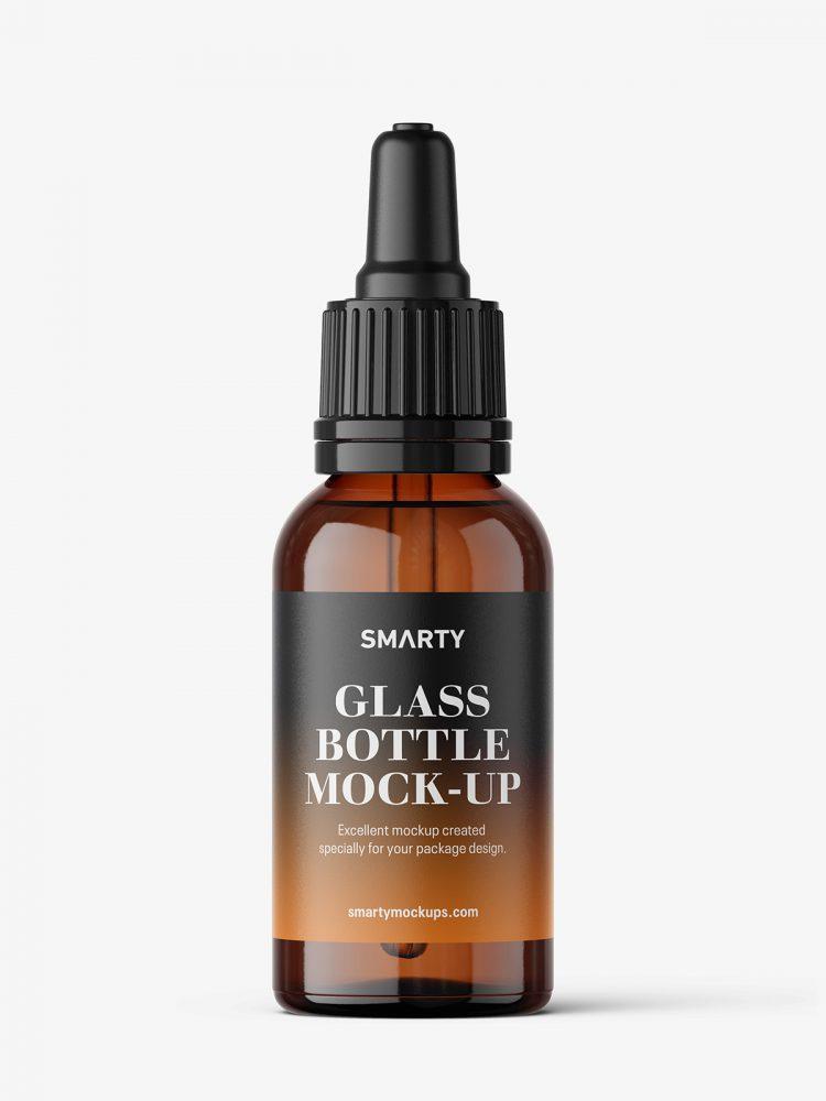 Amber dropper bottle mockup / 30 ml