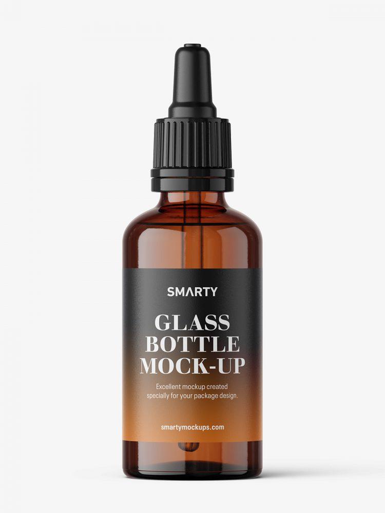 Amber dropper bottle mockup / 50 ml
