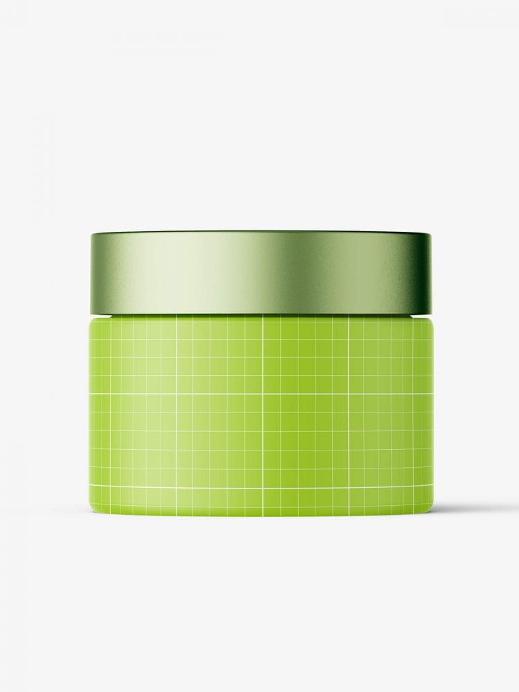 Frosted amber cosmetic jar with metallic cap mockup
