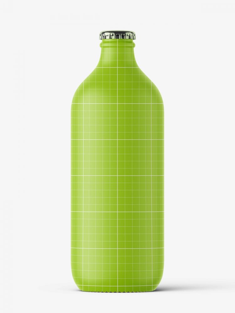 Transparent beer bottle mockup