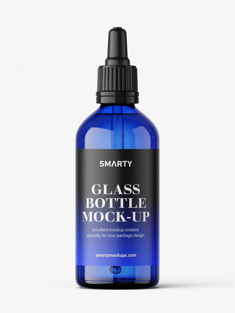 Blue dropper bottle mockup / 100 ml