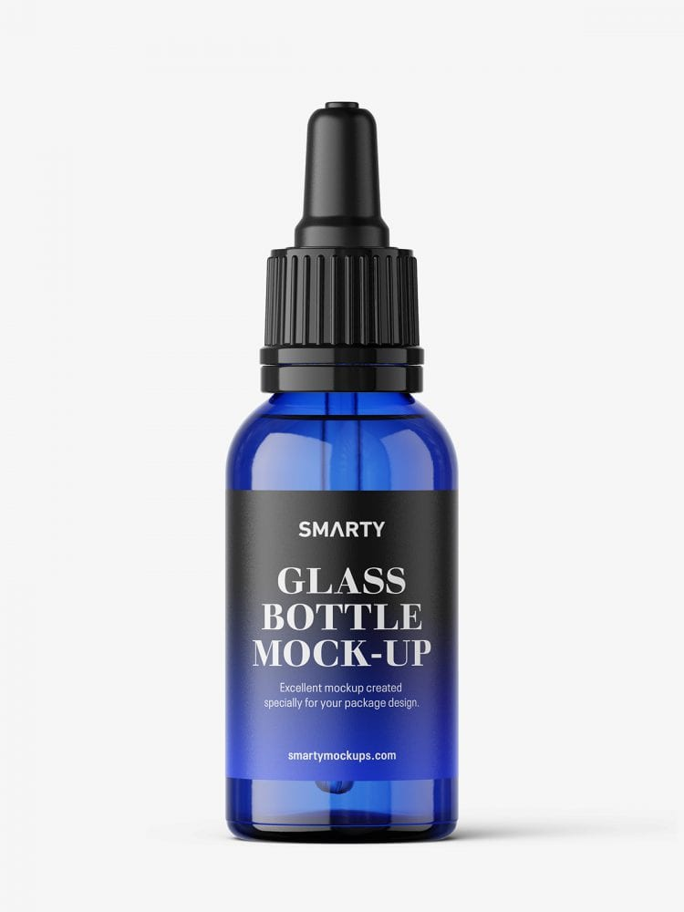 Blue dropper bottle mockup / 30 ml