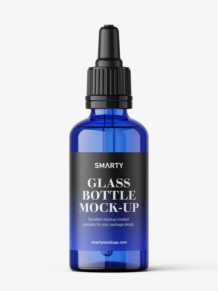 Blue dropper bottle mockup / 50 ml