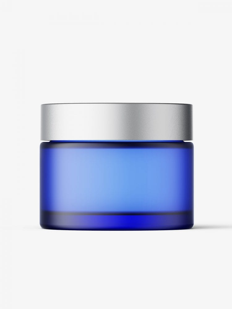 Frosted blue cosmetic jar with metallic cap mockup