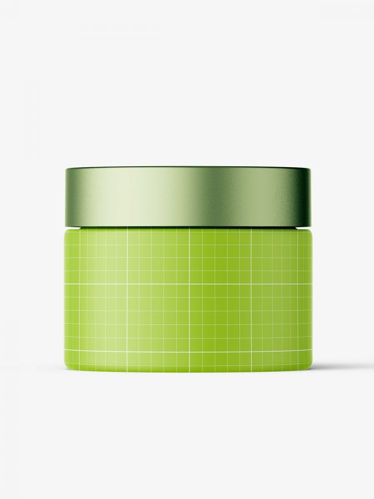 Frosted cosmetic jar with metallic cap mockup