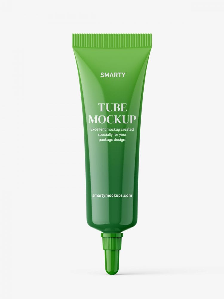 Glossy tube with long mouth cap mockup