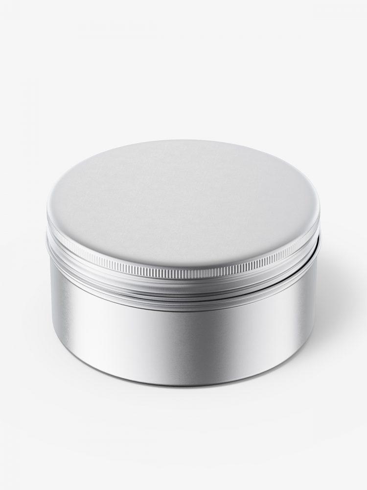Metallic tin cream jar mockup