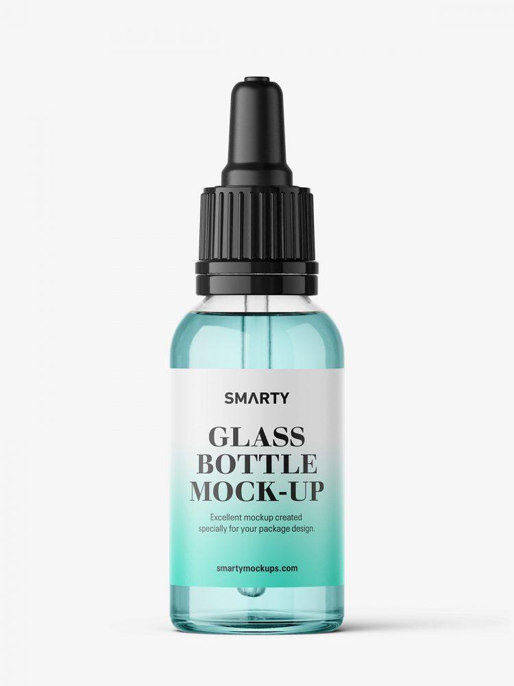 Transparent dropper bottle mockup / 30 ml