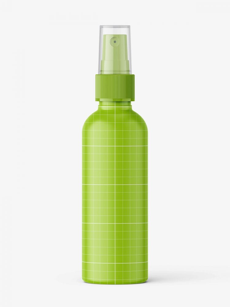 Blue mist spray bottle mockup