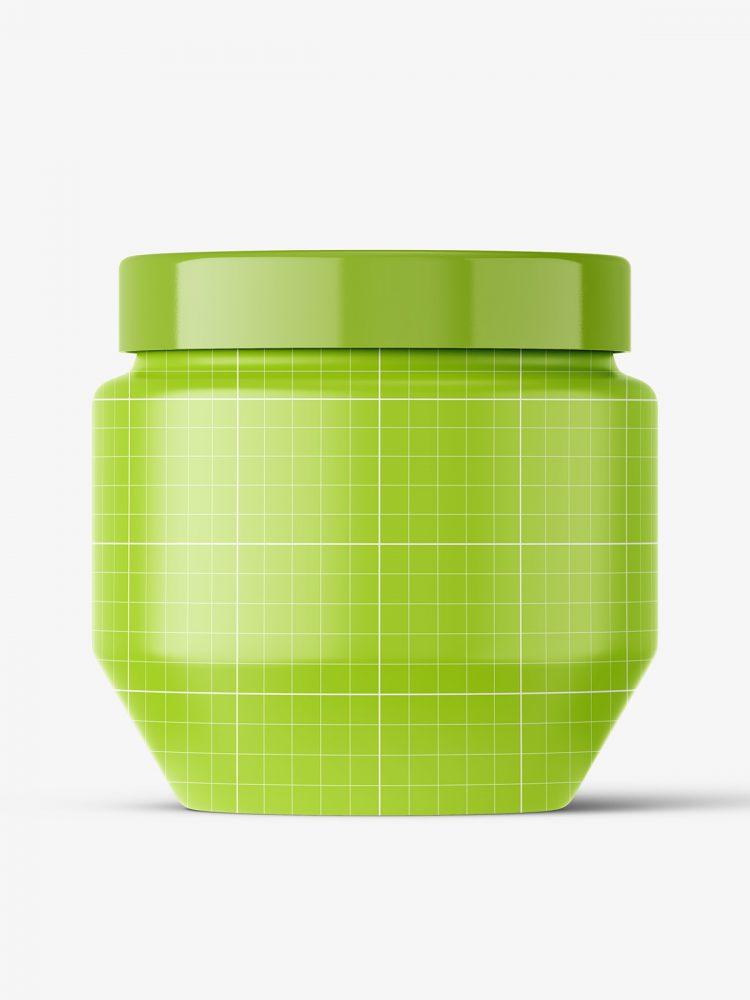 Cosmetic glass jar mockup