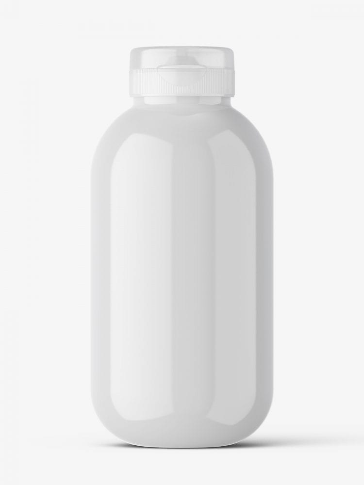 Cosmetic glossy bottle mockup