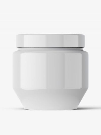 Cosmetic glossy jar mockup