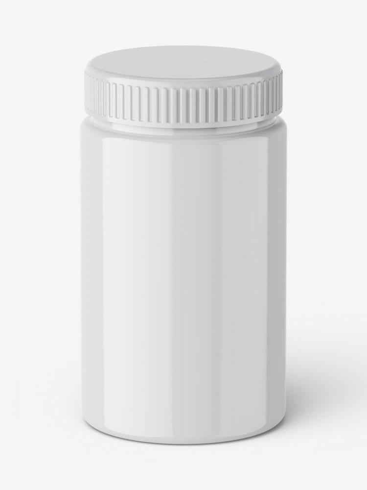 Glossy jar mockup / top view
