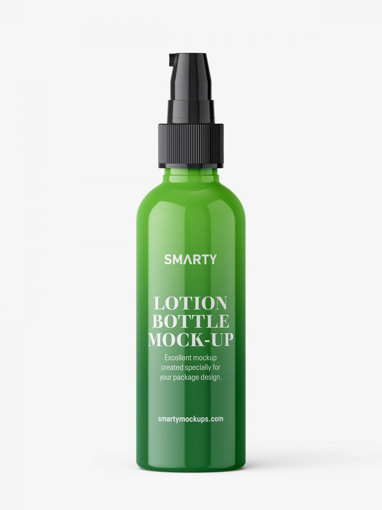 Glossy lotion pump bottle mockup